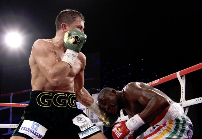 Gennady Golovkin lands a left hand on Osumanu Adama en route to a seventh round stoppage. Photo: Sumio Yamada