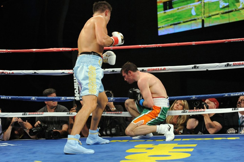 Gennady Golovkin lands a left hook to the body that put Macklin down for the count in the third round. Photo: USA TODAY Sports