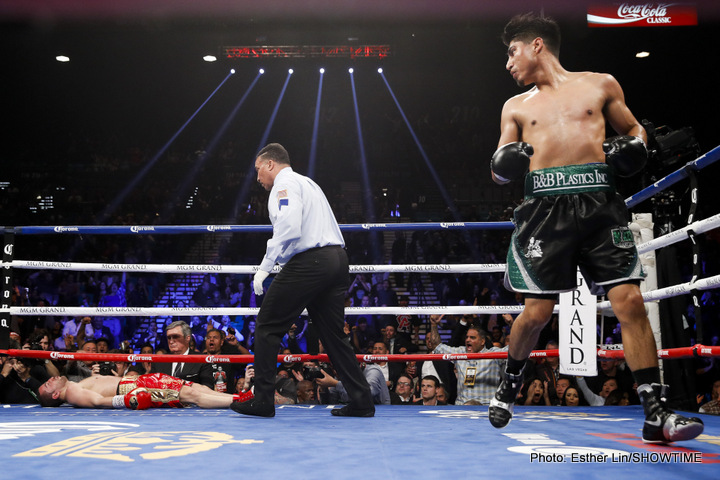 Mikey Garcia knocks out Dejan Zlaticanin in the third round to win the WBC lightweight title this past January. Photo: Esther Lin/Showtime