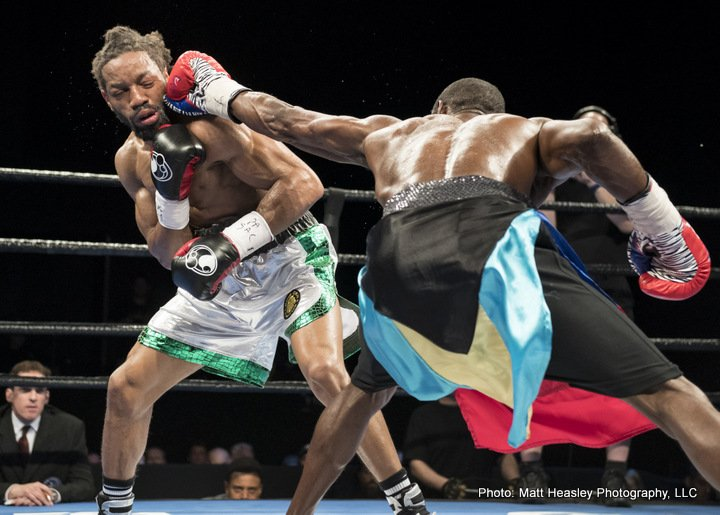 Edner Cherry lands a left jab on Omar Douglas. Photo: Matthew Heasley/Premier Boxing Champions