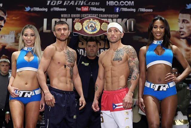 Vasyl Lomachenko came in at 129.6 pounds and Jason Sosa made the 130-pound limit on his second attempt. Photo: Mikey Williams/Top Rank