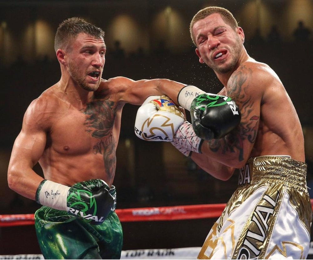 Vasyl Lomachenko stopped Jason Sosa after nine rounds to retain his WBO 130-pound championship. Photo: Ed Mulholland/HBO Sports