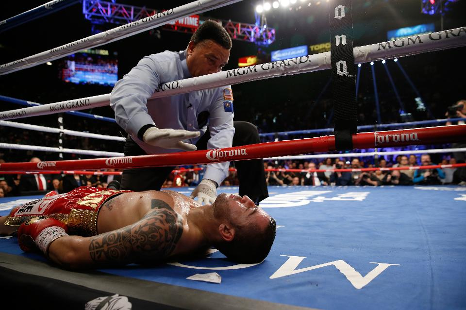 Dejan Zlaticanin after being knocked out cold by Mikey Garcia. Photo: Steve Marcus/Getty Images