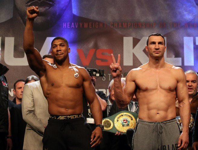 Wladimir Klitschko weighed in at 240.6 pounds and Anthony Joshua came in at 250.1 pounds. Photo: Nick Potts/PA Wire/PA Images