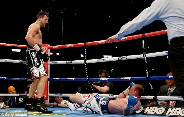 Carl Froch after landing the right hand that stopped George Groves in the eighth round of their rematch. Photo: Getty Images