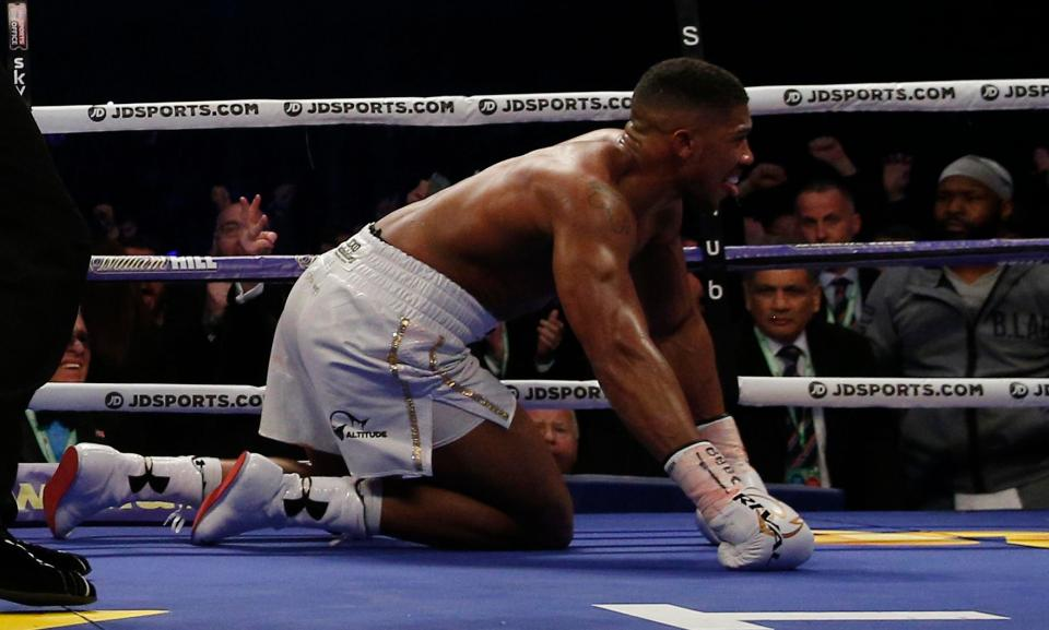 Anthony Joshua after being knocked down for the first time in his career by Wladimir Klitschko. Photo: Getty Images