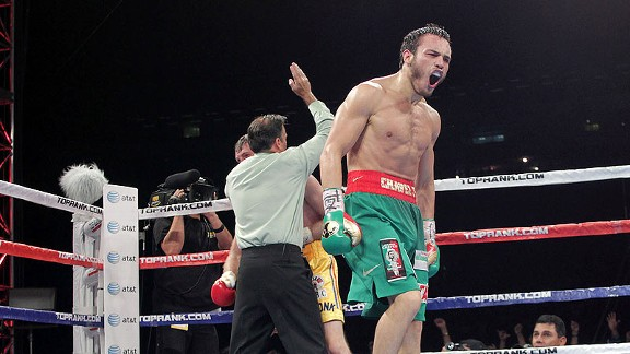 Julio Cesar Chavez Jr. stopped Andy Lee in seven rounds in June 2012. Photo: Chris Farina/Top Rank