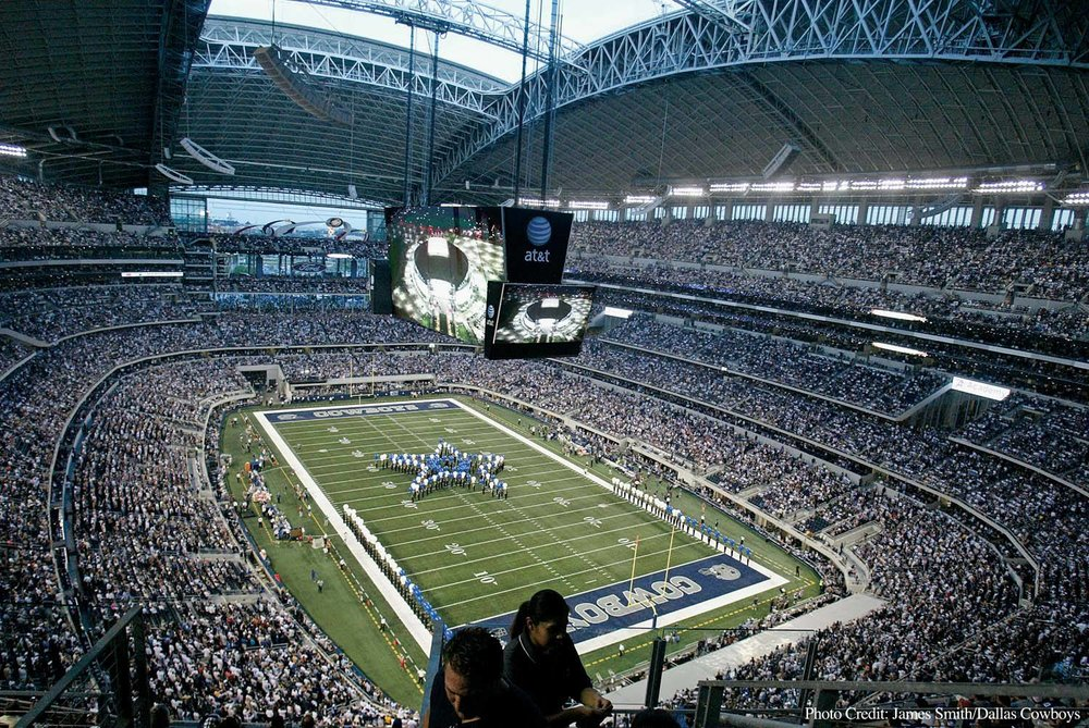 A view of AT&T Stadium (Cowboys Stadium) during a Dallas Cowboys NFL Football game. Photo: James Smith/Dallas Cowboys