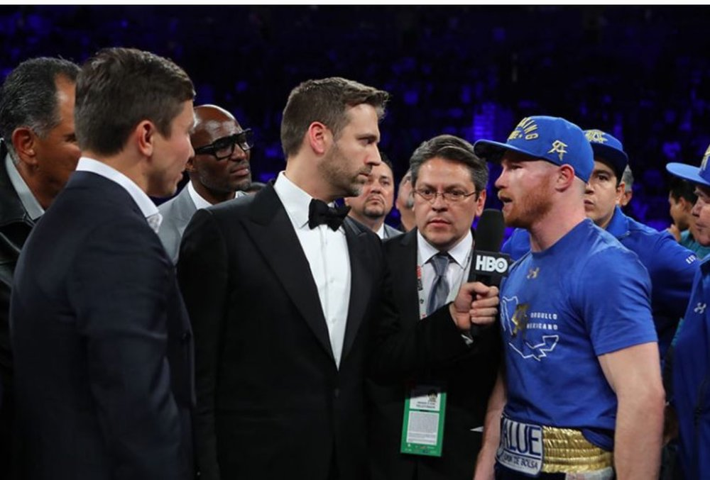 Canelo Alvarez and Gennady Golovkin announce their upcoming bout after Alvarez's fight with Chavez Jr. Photo: HBO Boxing