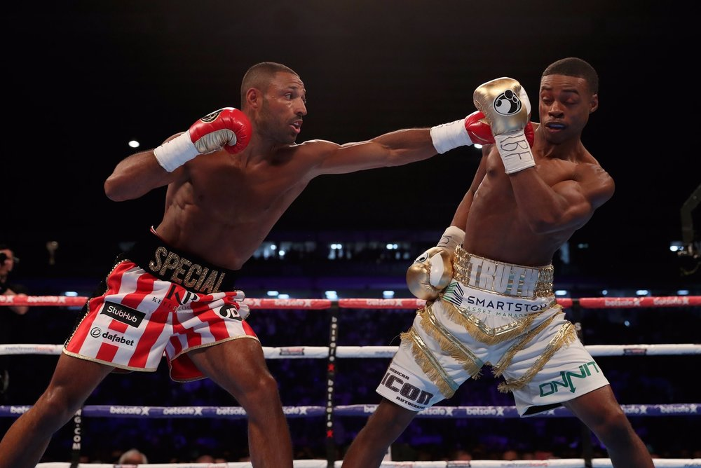 Kell Brook and Errol Spence used the jab effectively throughout their bout. Photo: Matchroom Boxing