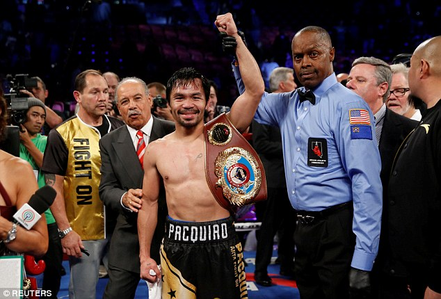 Manny Pacquiao after winning the WBO welterweight title from Jessie Vargas in November 2016. Photo: Steve Marcus/Reuters
