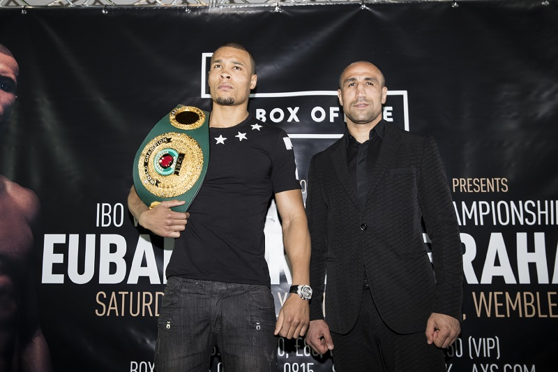 IBO super middleweight champion Chris Eubank Jr and Arthur Abraham pose for media at the press conference. Photo Credit : Mark Robinson