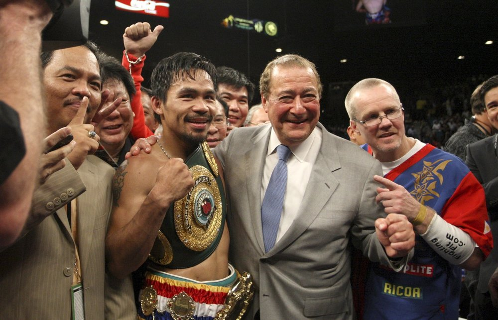 Manny Pacquiao celebrating after his victory over Ricky Hatton in 2009. Photo: Jae C. Hong/AP