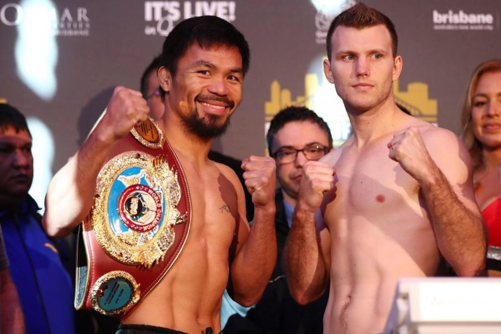 Manny Pacquiao and Jeff Horn weigh-in for their fight tonight. Photo: Chris Hyde/Getty Images