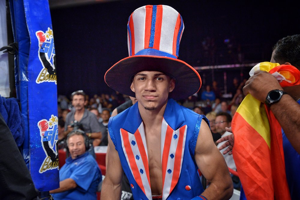 Teofimo Lopez shows his personality with an Apollo Creed inspired entrance. Photo: Joseph Correa/Frontproof Media
