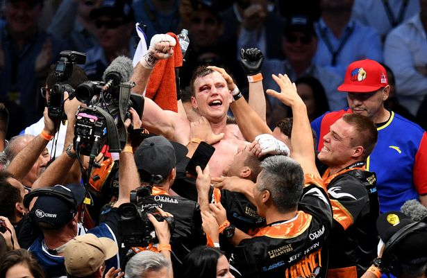 Jeff Horn celebrates with his team after bveing awarded a victory over Filipino legend Manny Pacquiao in Australia. Photo Credit: Reuters