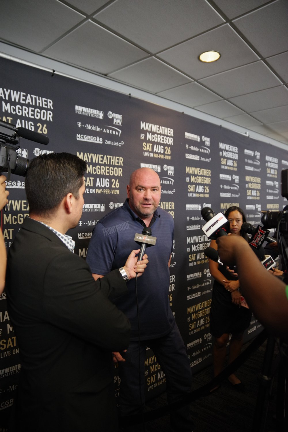 UFC president, Dana White, speaks to the press before the public press conference in Los Angeles. Photo: Luis Mejia/Frontproof Media