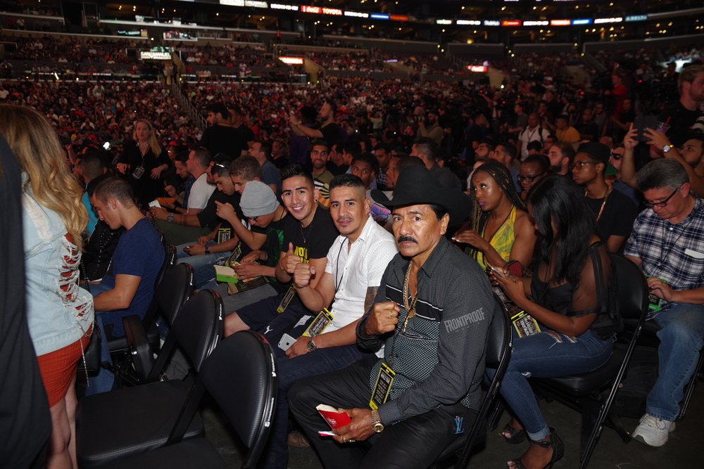Leo Santa Cruz was on hand with his family to witness the first leg of the May-Mac World Tour. Photo: Luis Mejia/Frontproof Media