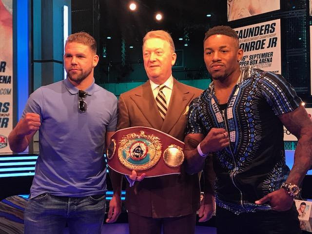 Billy Joe Saunders and Willie Monroe Jr. pose for a photo ahead of their fight taking place September 16, in London. Photo credit: BT Sports