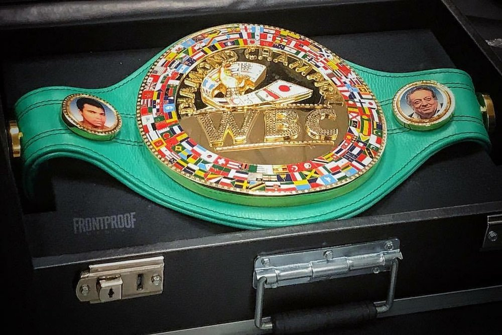 A view of the WBC diamond belt that was given to Mikey Garcia after his win over Adrien Broner at 140-pounds. Photo: Joseph Correa/  Frontproof   Media