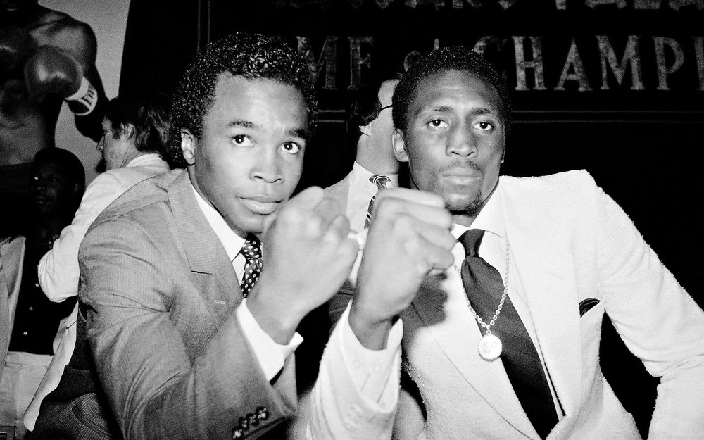 Sugar Ray Leonard and Thomas Hearns each won titles in five weight classes ranging from welterweight to light heavyweight. Photo: Marty Lederhandler/AP Photo