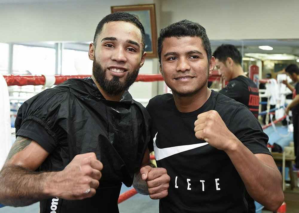 Luis Nery with Roman Gonzalez at a media day workout in Japan. Nery will challenge for Yamanaka's WBC bantamweight championship on August 15. Photo: Naoki Fukuda