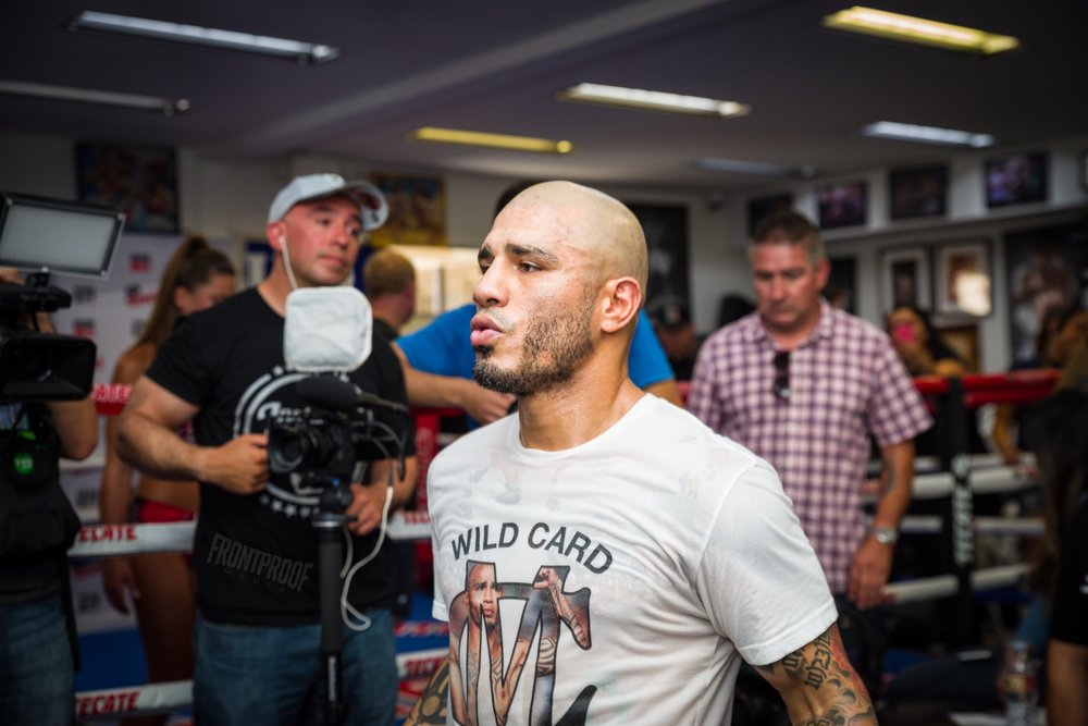 Miguel Cotto during his media workout for his fight with Yoshihiro Kamegai on August 26, 2017. Photo: Luis Mejia / Frontproof Media
