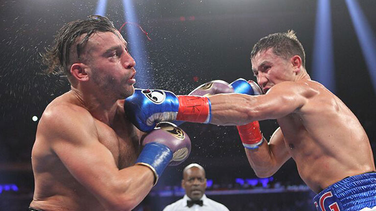 Gennady Golovkin used his jab to dominate David Lemieux in October 2015. Photo: Tom Hogan/Hogan Photos/Golden Boy Promotions
