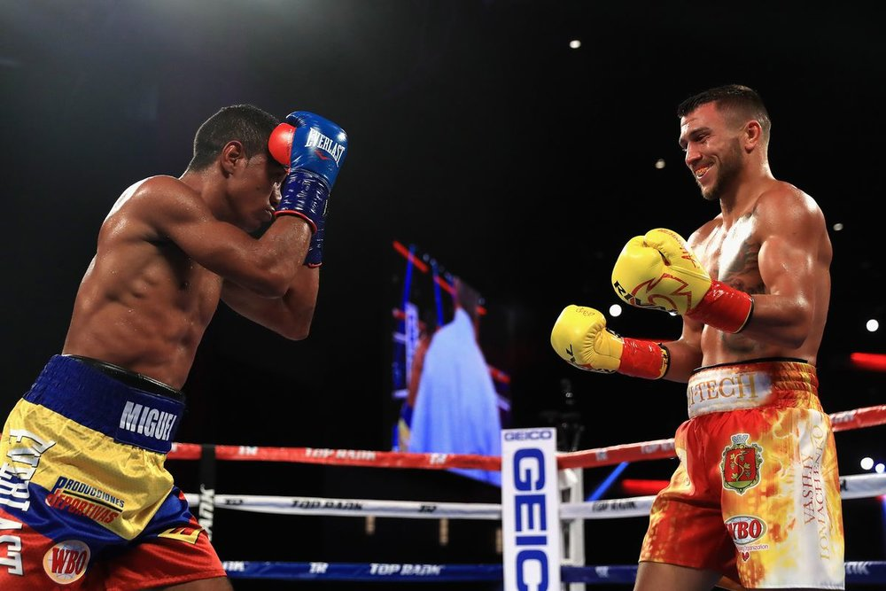 Vasyl Lomachenko dominated Miguel Marriaga over seven rounds. Photo: Sean M. Haffey/Getty Images