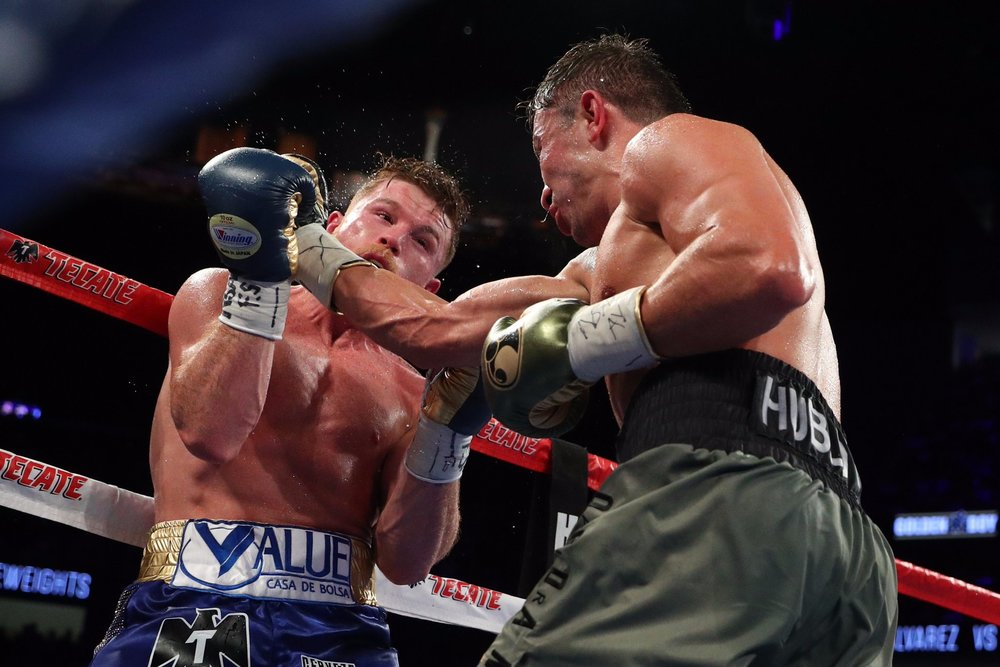 Gennady Golovkin got Canelo Alvarez against the ropes several times during the second half of the fight. Photo: HBO Boxing