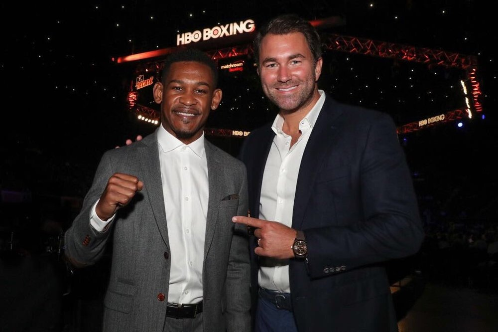 Daniel Jacobs with new promoter Eddie Hearn of Matchroom Boxing. Photo: HBO Boxing