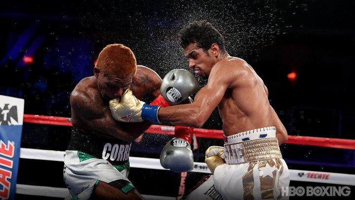 Alberto Machado of Puerto Rico scored an eighth-round knockout over Jezreel Corrales to win the WBA 130-pound championship. Photo: HBO Boxing