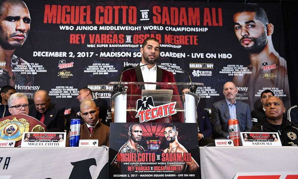 Sadam  Ali talks to the media about the fight and the task ahead of him. Photo:   Tom Hogan/Hogan Photos/Golden    Boy Promotions