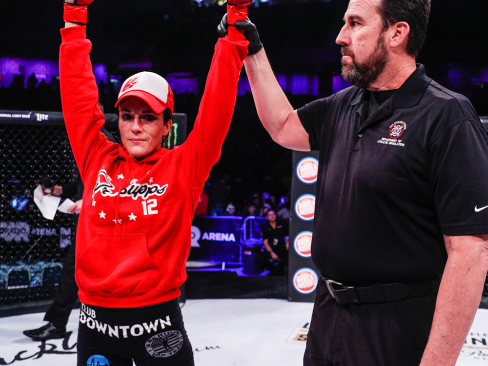 Valerie Letourneau wins a unanimous decision over Kate Jackson in her Bellator MMA debut. Photo: Bellator MMA