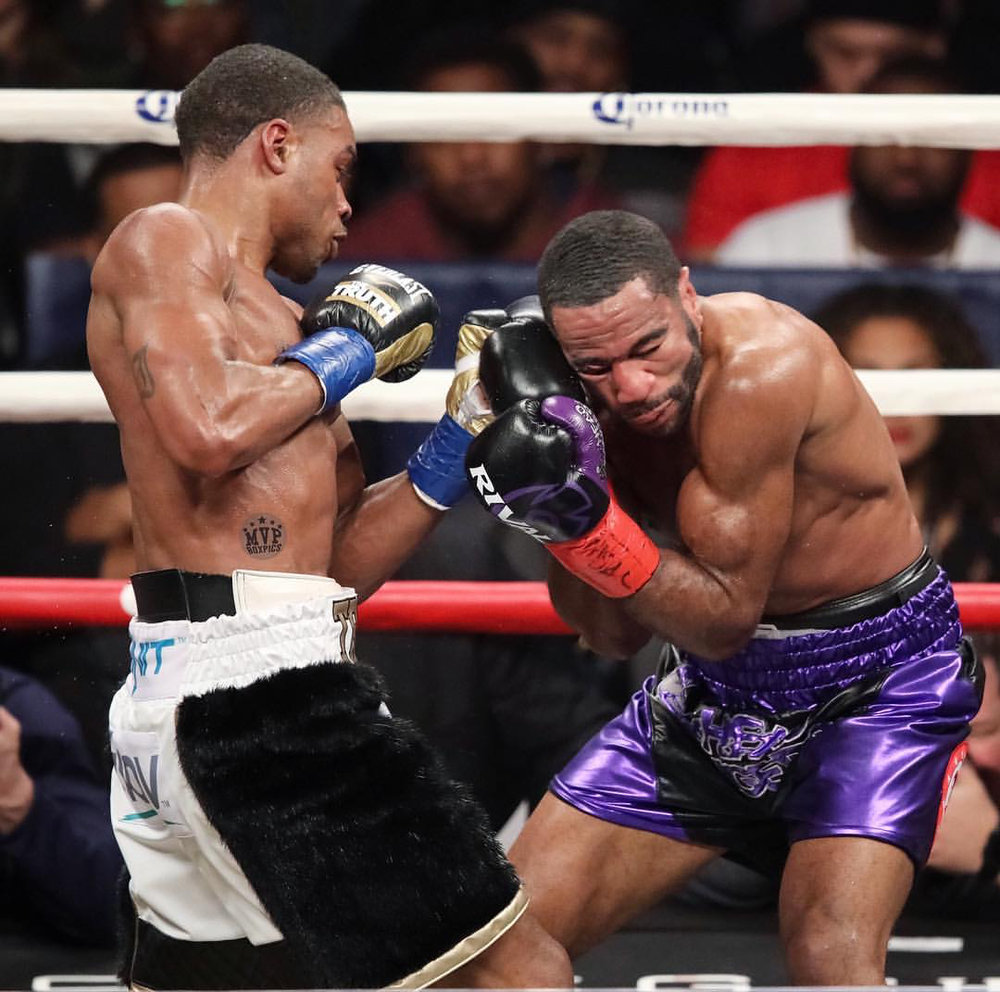 Errol Spence Jr. lands an uppercut on Lamont Peterson. Photo: Marilyn Paulino