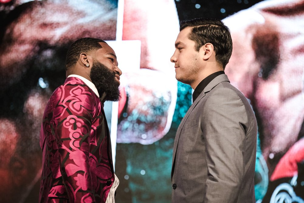 Adrien Broner and Omar Figueroa stare one another down ahead of their bout taking place April 21, in Brooklyn. Photo: Amanda Westcott/Showtime