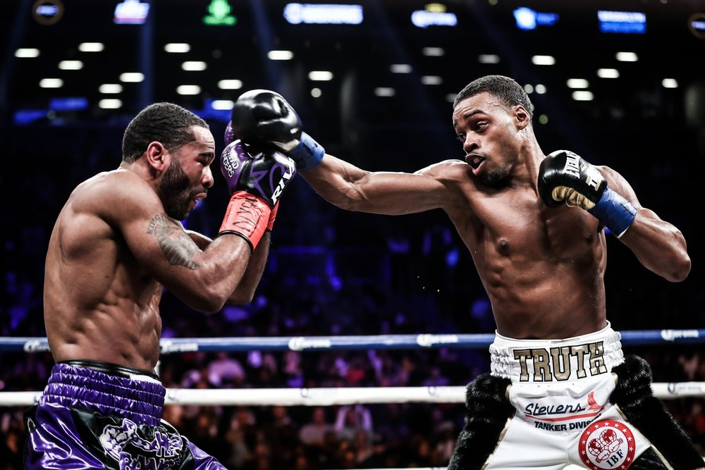 Errol Spence won in impressive fashion, stopping the very durable veteran Lamont Peterson in Brooklyn. Photo: Amanda Westcott/Showtime