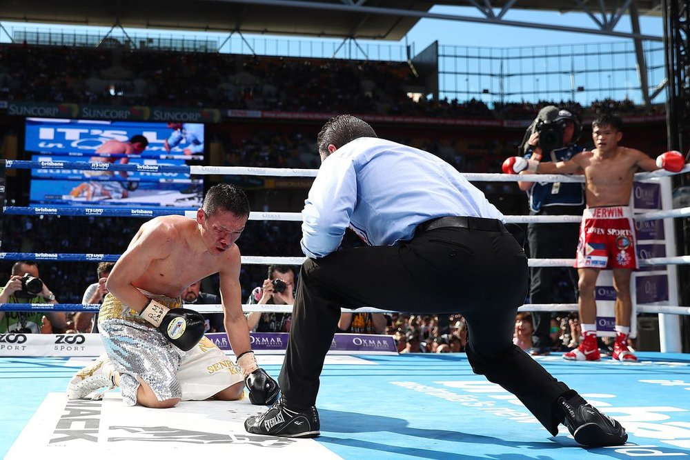 Jerwin Ancajas stops Teiru Kinoshita in the seventh round with a brutal body attack. Photo: Chris Hyde/Getty Images