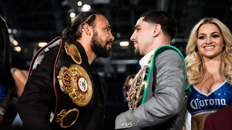 Keith Thurman and Danny Garcia before their WBA and WBC welterweight unification bout that took place in March 2017. Photo: Amanda Westcott/Showtime