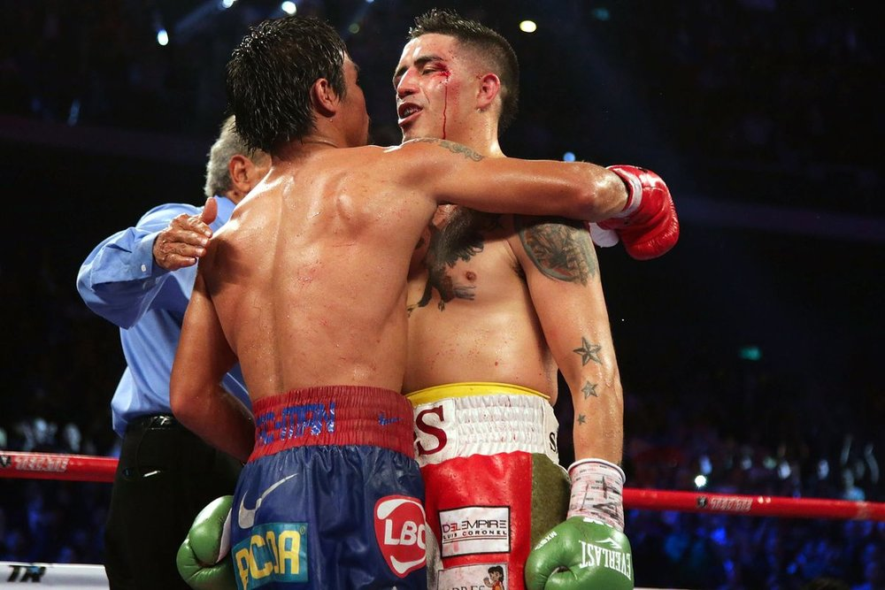 Brandon Rios and Manny Pacquiao in their November 2013 bout in Macao, China. Photo: Nicky Loh/Getty Images