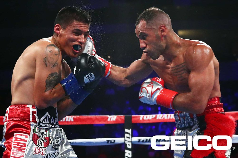 Khalid Yafai lands a right hand on David Carmona. Photo: Top Rank Boxing