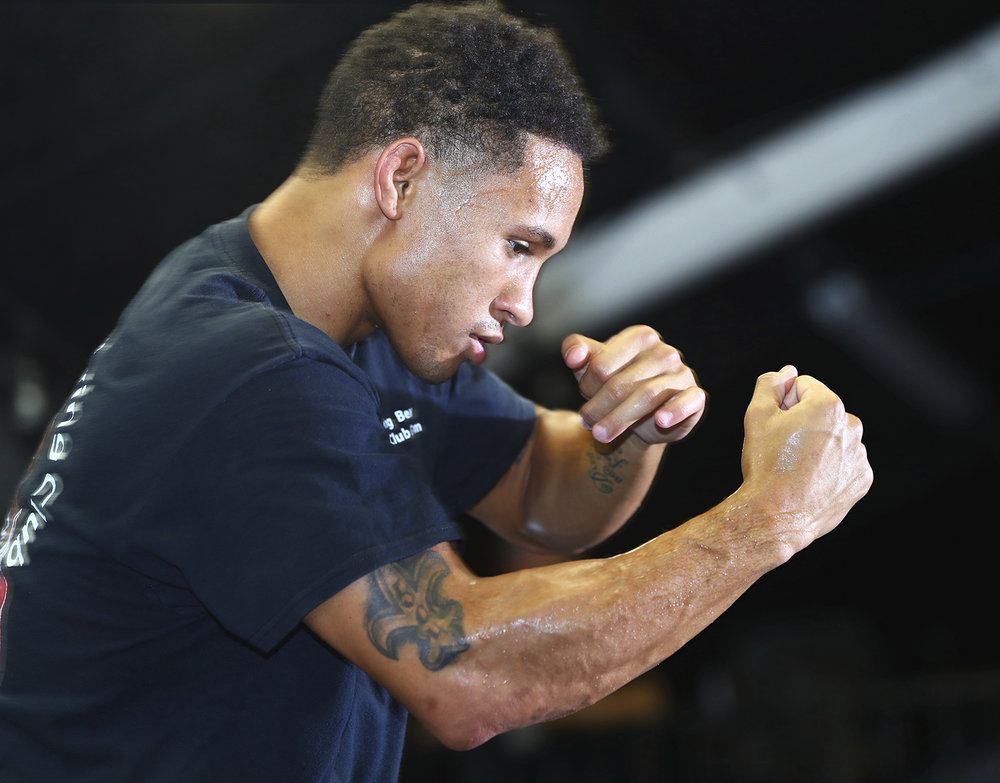 Regis Prograis shadowboxing at the Media Day Workout in New Orleans. Photo: Mikey Williams/Top Rank