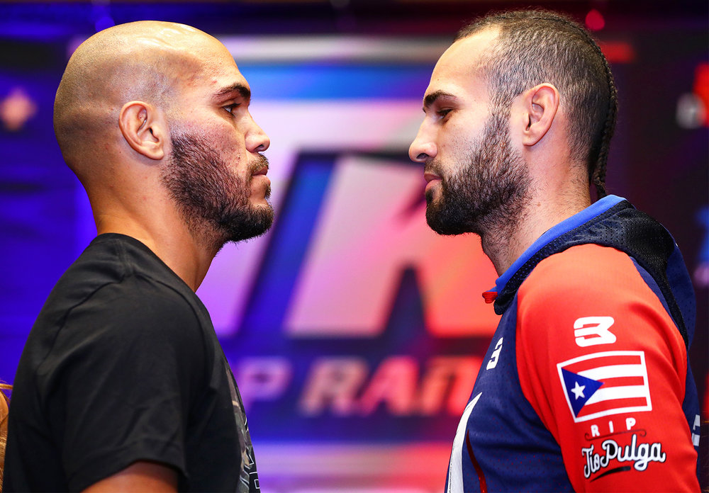 Ray Beltran and Jose Pedraza meet face to face at the final press conference. Photo: Mikey Williams/Top Rank