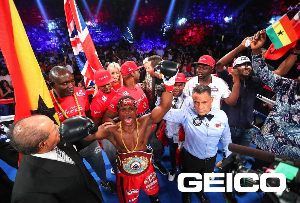 Isaac Dogboe celebrates his first round stoppage victory over Hidenori Otake. Photo: Mikey Williams/Top Rank