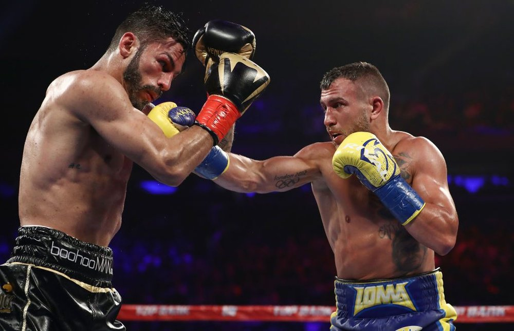 Vasyl Lomachenko scored a tenth-round stoppage over Jorge Linares in win the WBA lightweight championship at Madison Square Garden this past May. Photo: Getty Images