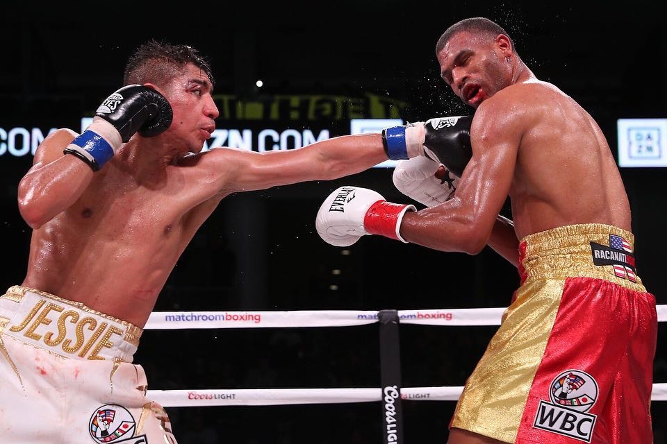 Jessie Vargas and Thomas Dulorme fought to a majority draw at the Wintrust Arena in Chicago. Photo: Matchroom Boxing USA