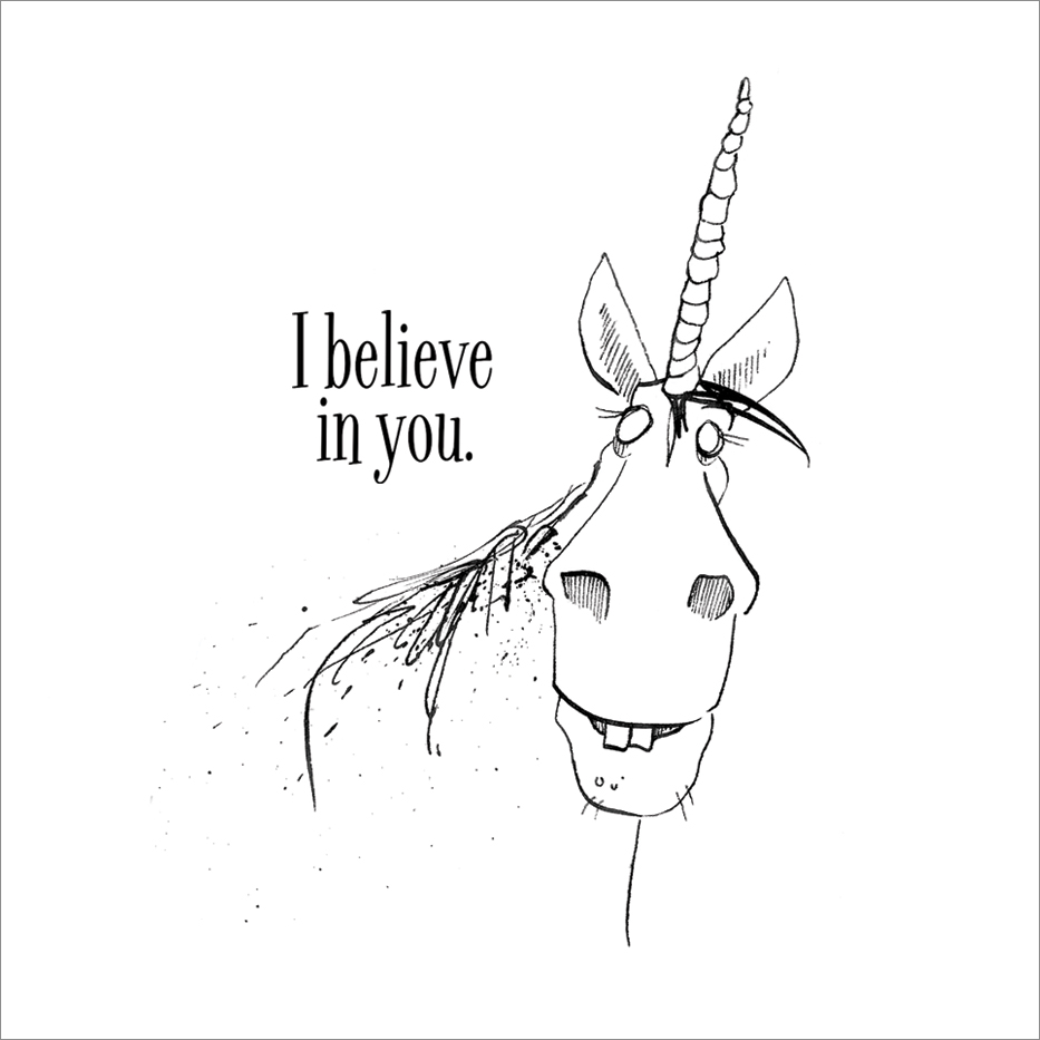 Outside:  I believe in you.  Inside: Blank