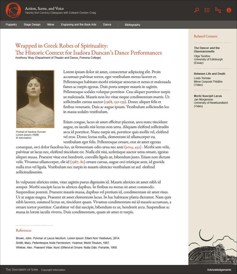 Web Design Mock-Up  University of Iowa Edward Craig Project Adobe Illustrator
