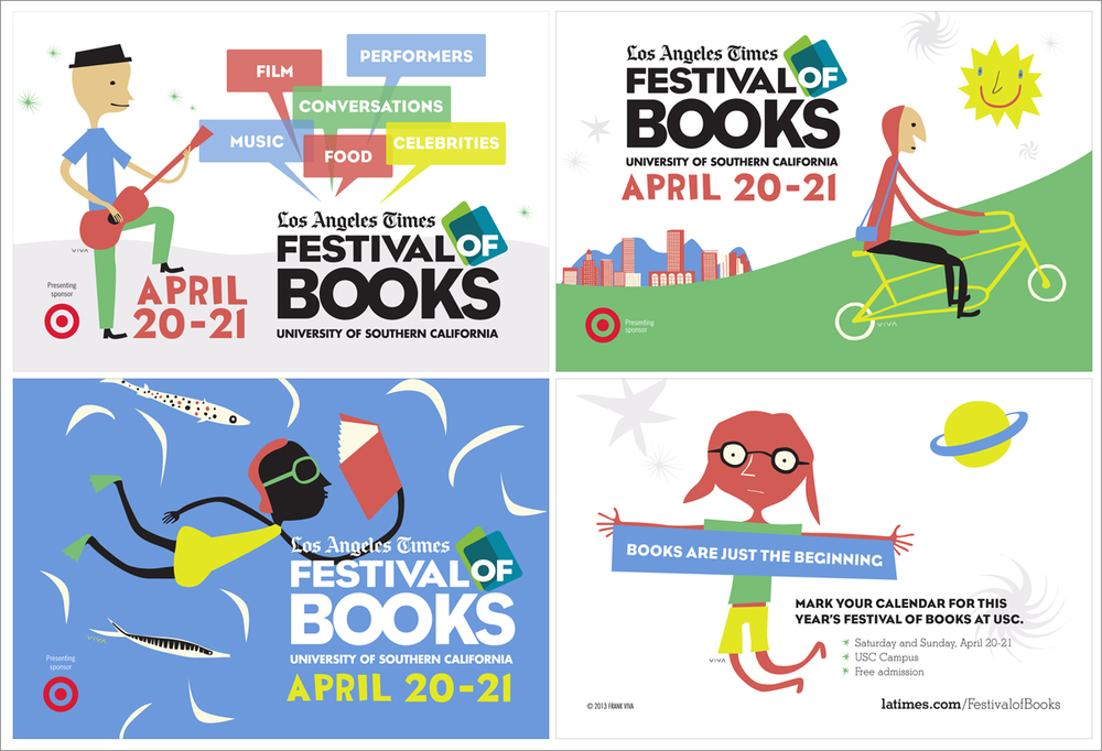 Promotional Postcards  LA Times Festival of Books (Artwork by Frank Viva) Adobe Illustrator