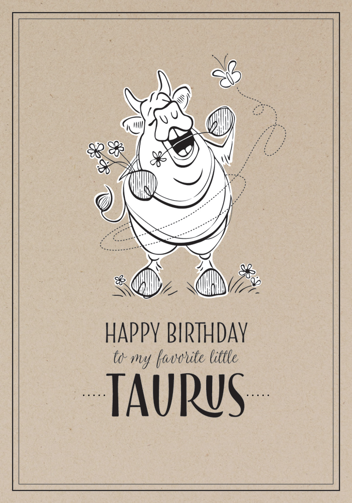 Hedonistic Taurus  Birthday Card Design Pen / Adobe Illustrator